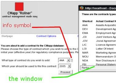 Contract Type Pop-Up Window
